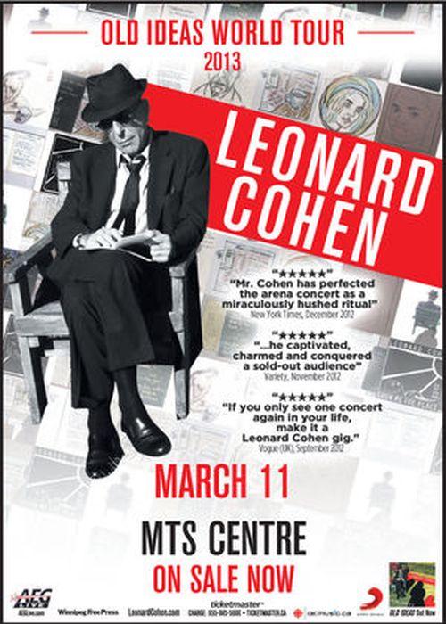 Poster promoting 2013 Leonard Cohen Winnipeg concert