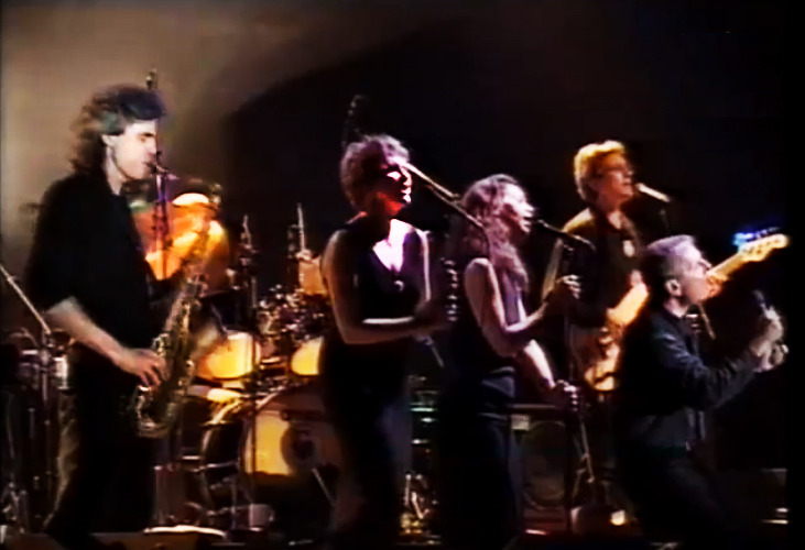 Left to right: Paul Ostermayer, Julie Christensen, Perla Batalla, Jorge Calderon, Leonard Cohen