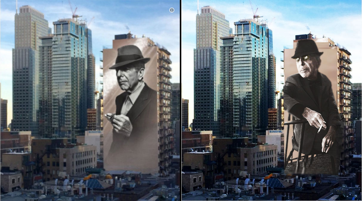 Leonard cohen montreal mural alternative version popular for Mural leonard cohen